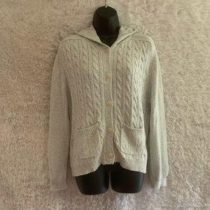 Ladies XL 90% Cotton Chunky Knit Columbia Button Down Sweater!